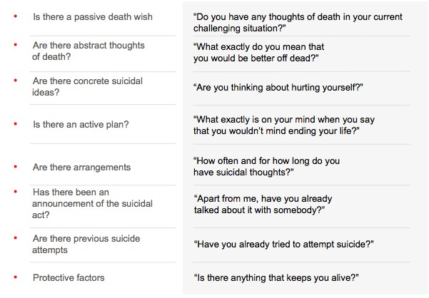 The following questions can help you to judge suicide risk